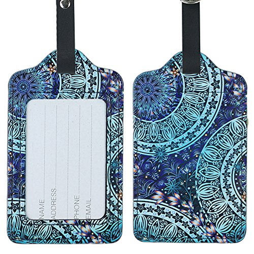 Lizimandu PU Leather Luggage Tags Suitcase Labels Bag Travel Accessories - Set of 2(Green_Flower)