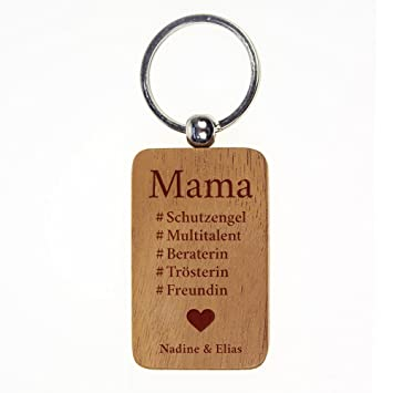 Engel Flügel Mama Schlüsselanhänger Holz Gravur Geburtstag Geschenk Muttertag