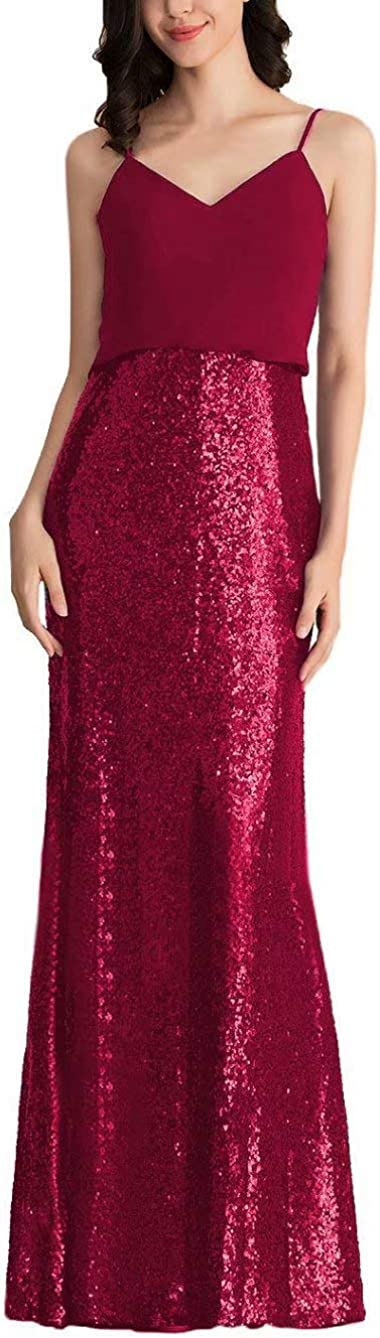 Miao Duo Womens Chiffon Sequined Bridesmaid Dresses Long Prom Evening Gowns