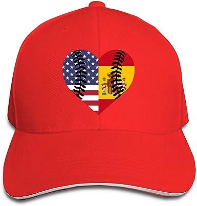 Bandera de España EE. UU. Béisbol Medio Unisex Gorra de béisbol Lisa 100% algodón Ajustable Gorra Strapback: Amazon.es: Ropa y accesorios