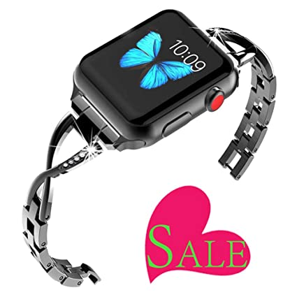 Stainless Steel Women Bracelets Compatible Apple Watch 42mm 44mm 38mm 40mm,Replacement iwatch Smartwatch Bands Watchband for Series 4 Series 3 Series ...