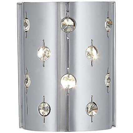 Polished Chrome Glass Beaded Single Light Fixture Sconce Bathroom