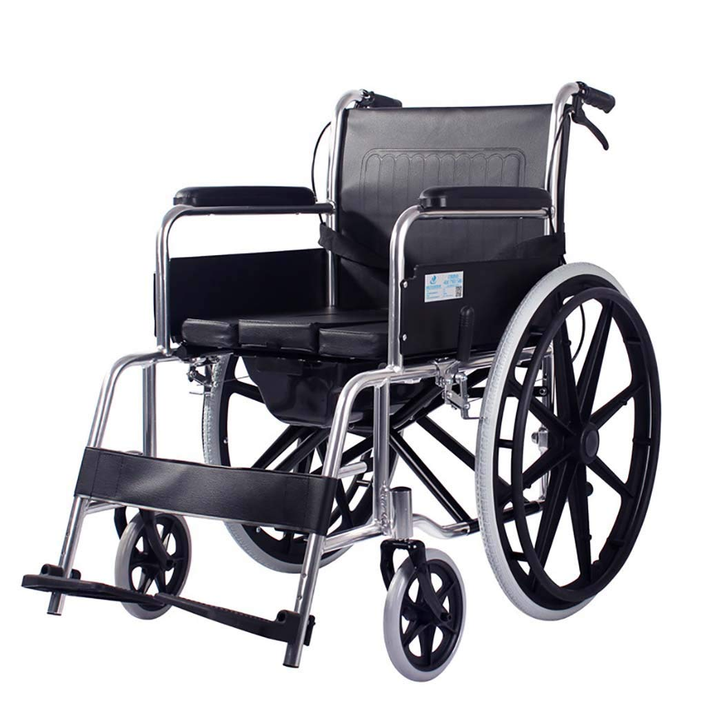【良好品】 HSBAIS 輸送車いす軽量折りたたみ Seat、アルミニウム合金チューブ頑丈で耐久性のあるトイレ付き,black_17