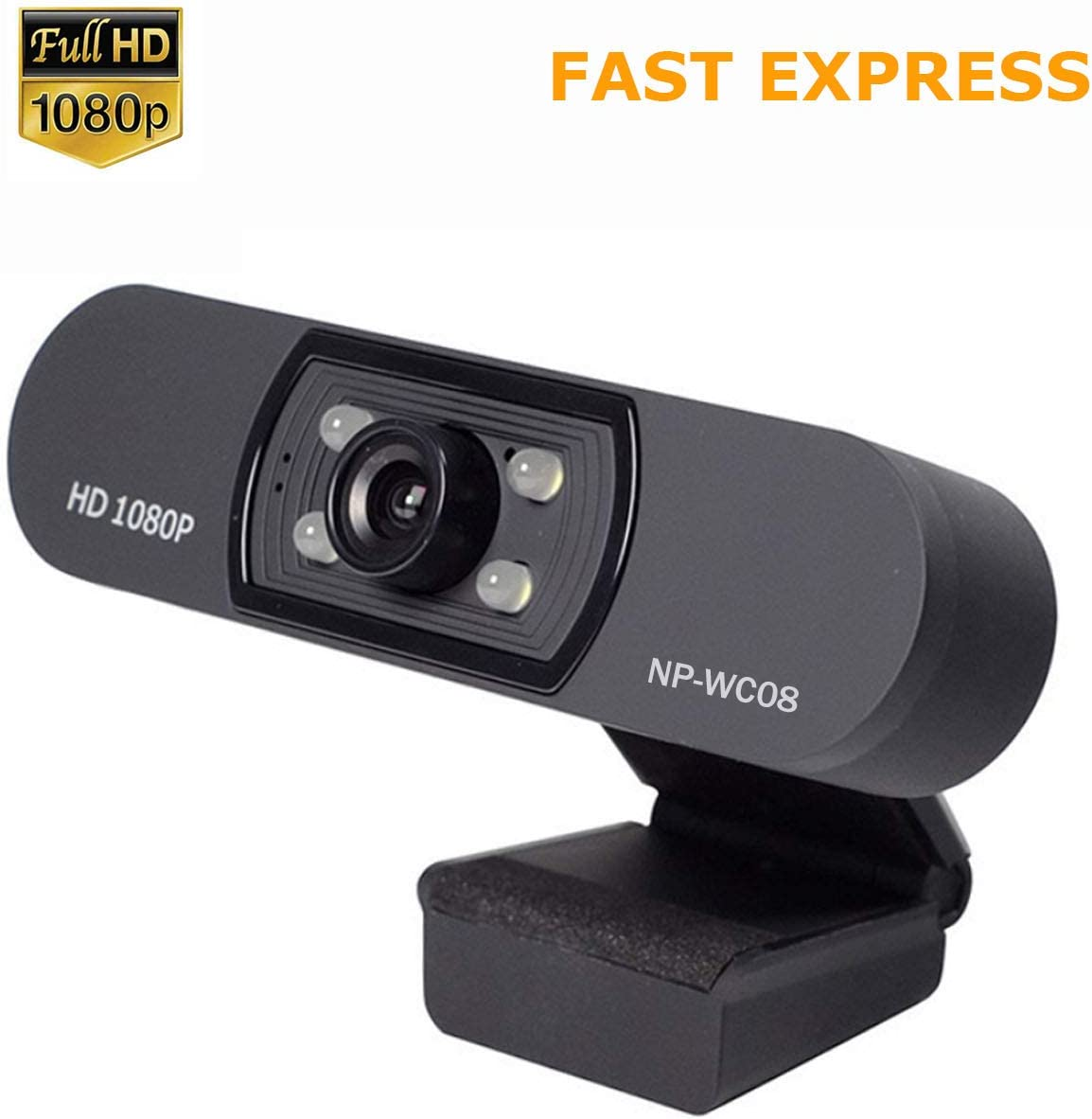 1080P Webcam, NP HD PC Webcam USB Mini Computer Camera Built-in Microphone, Flexible Rotatable Clip, for Laptops, Desktop and Gaming, Black …