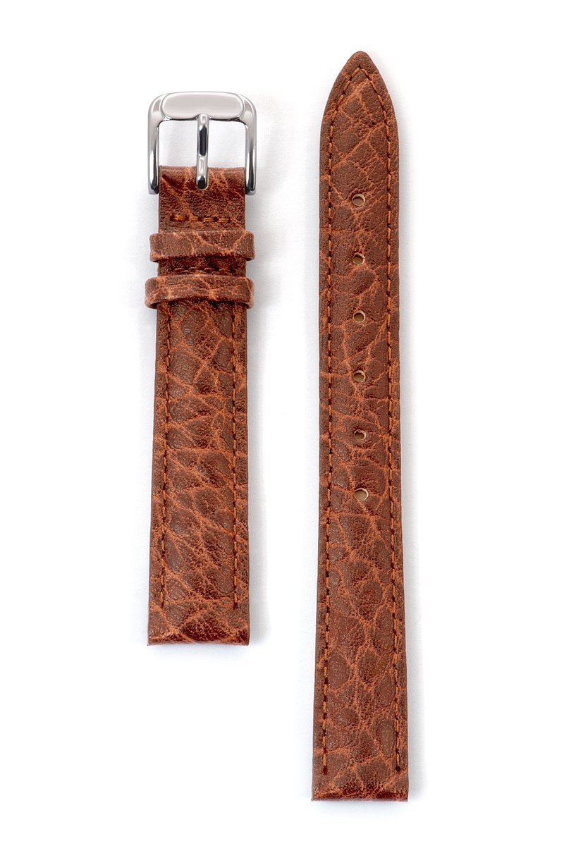 Speidel Genuine Leather Watch Band 12mm Honey Cowhide Buffalo Grain Replacement Strap, Stainless Steel Metal Buckle Clasp, Watchband Fits Most Watch Brands