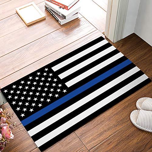 American Flag Entrance Door Mat, Blue Line Respect Law-Enforcer Design Doormat, Decorative Felt Floor Door Mat with Non-Skid Backing, Fit for Entry Way/Indoor/Kitchen/Bedroom (20