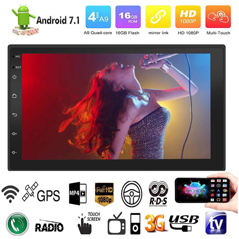 welltobuy Android 7.1 System GPS Navigation Auto Auto Spieler Auto Radio Auto Kopfstü tze Monitor,16G Speicher, Touchscreen-Taste, 7 Zoll HD Auto Bluetooth MP5 Spieler Auto Doppelspindel Universal