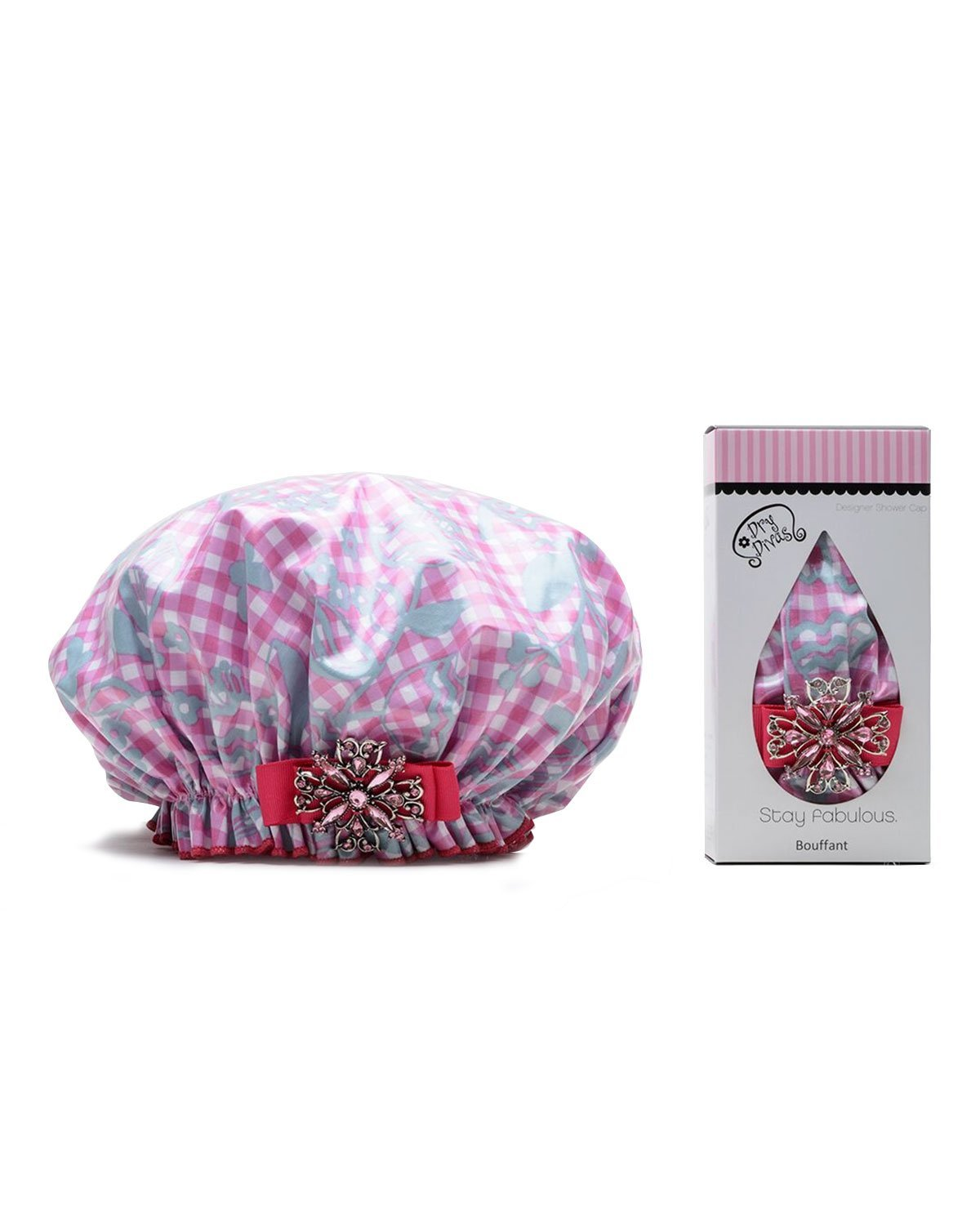 Dry Divas Designer Shower Cap For Women - Washable, Reusable - Large Bouffant Cap With Vintage Jeweled Brooch (Glorious Gingham)