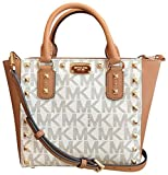 Michael Kors Sandrine Stud Signature Small Crossbody handbag in Vanilla/Acorn