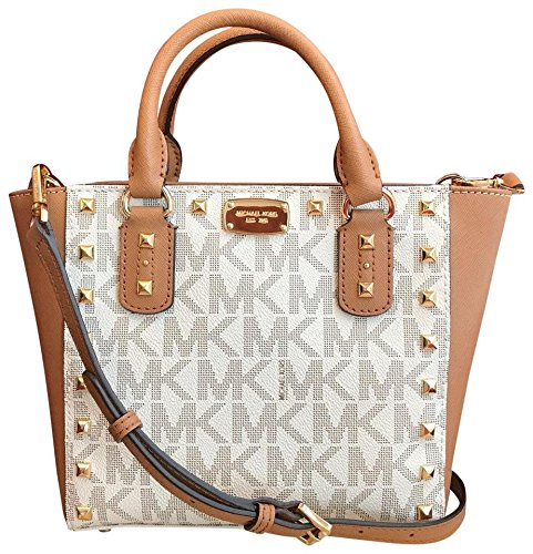Michael Kors Sandrine Stud Signature Small Crossbody handbag in Vanilla/Acorn by Michael Kors