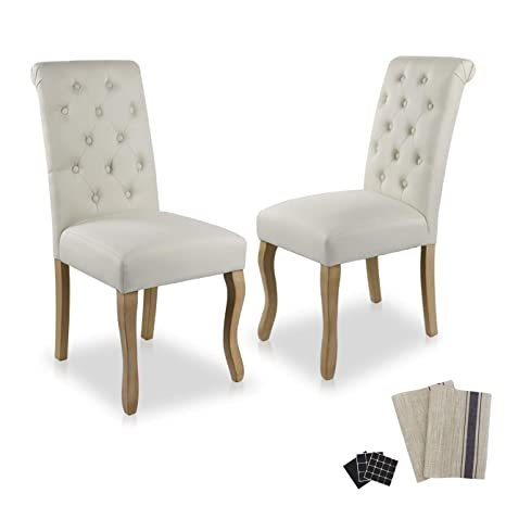 Dinner Chairs Upholstered Accent Fabric Dining Chair Solid Wood Legs  Kitchen Living Room Set of 2 (Beige 01)