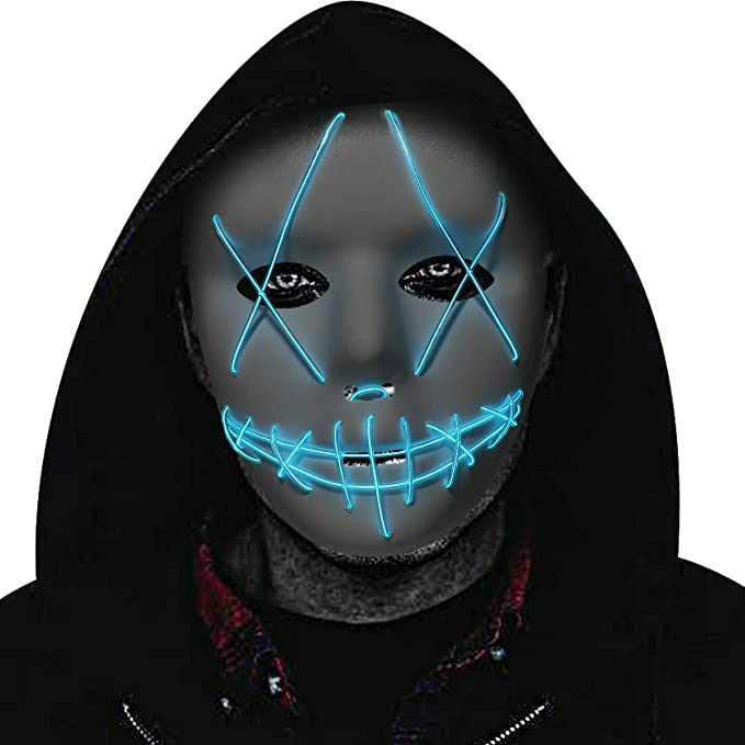 Led Purge Mask Led Halloween Mask Scary Mask for Halloween Festival Cosplay Party Led Mask for Adult Men Women and Kids