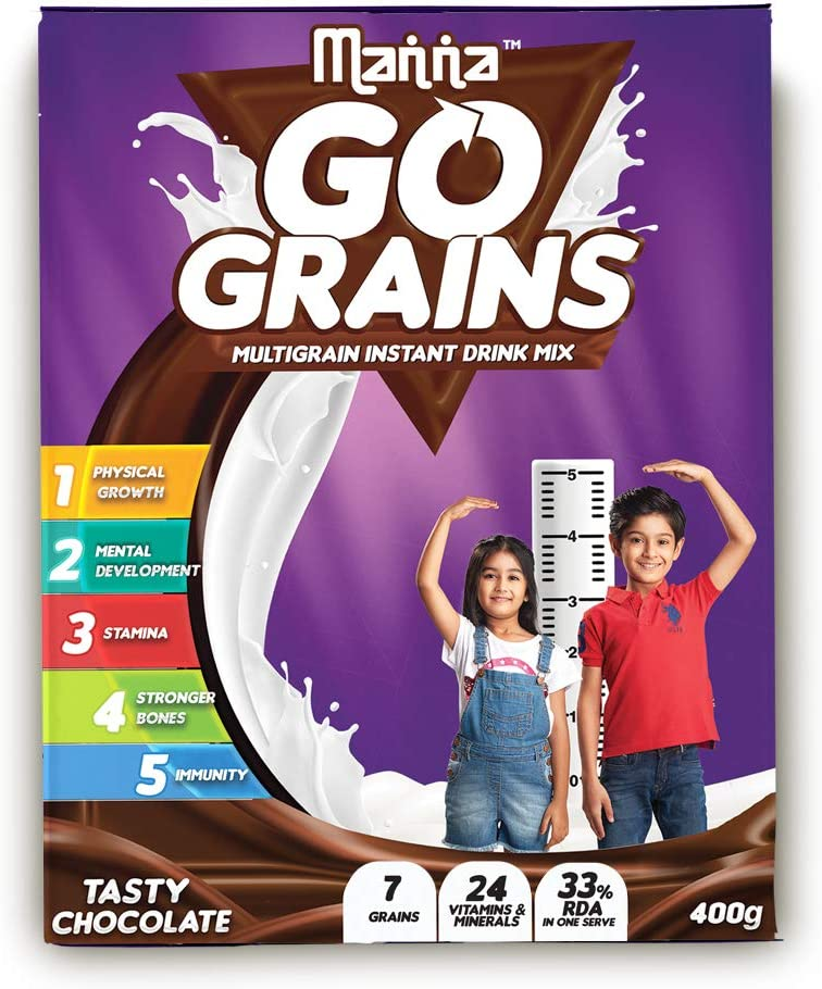 Manna Go Grains - Multigrain Instant Drink Mix - 400g Pack (Chocolate Flavour)