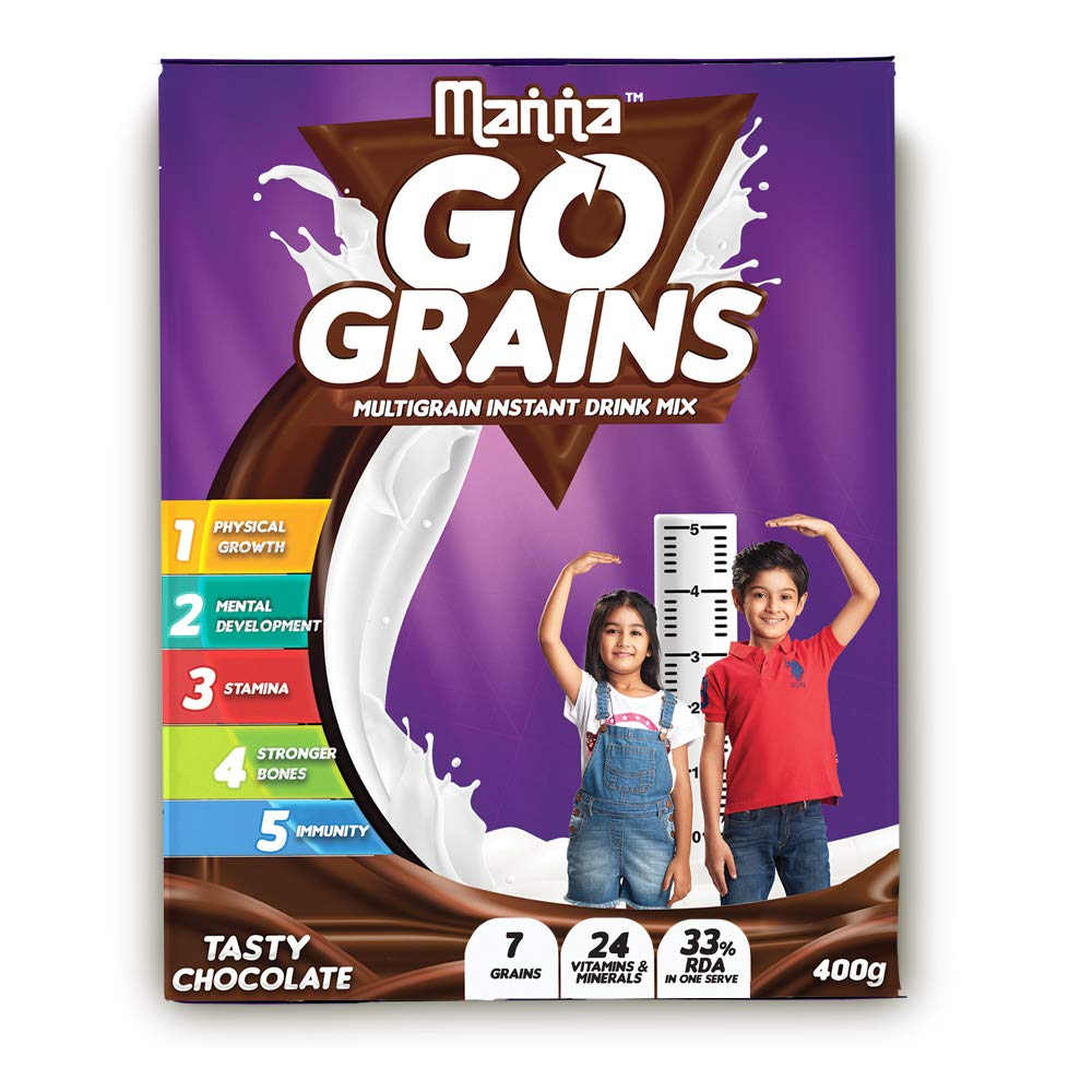 Manna Go Grains - Multigrain Instant Drink Mix - 400g Pack (Chocolate Flavour) product image
