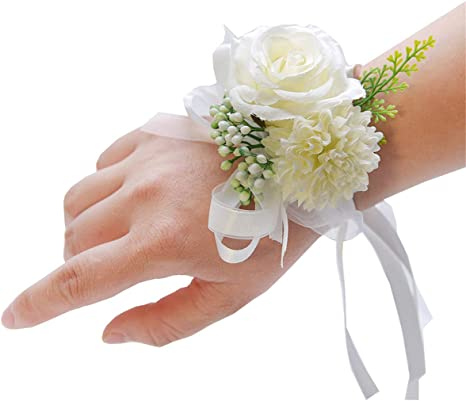 Wedding Accessories Prom White Roses Corsage Prom