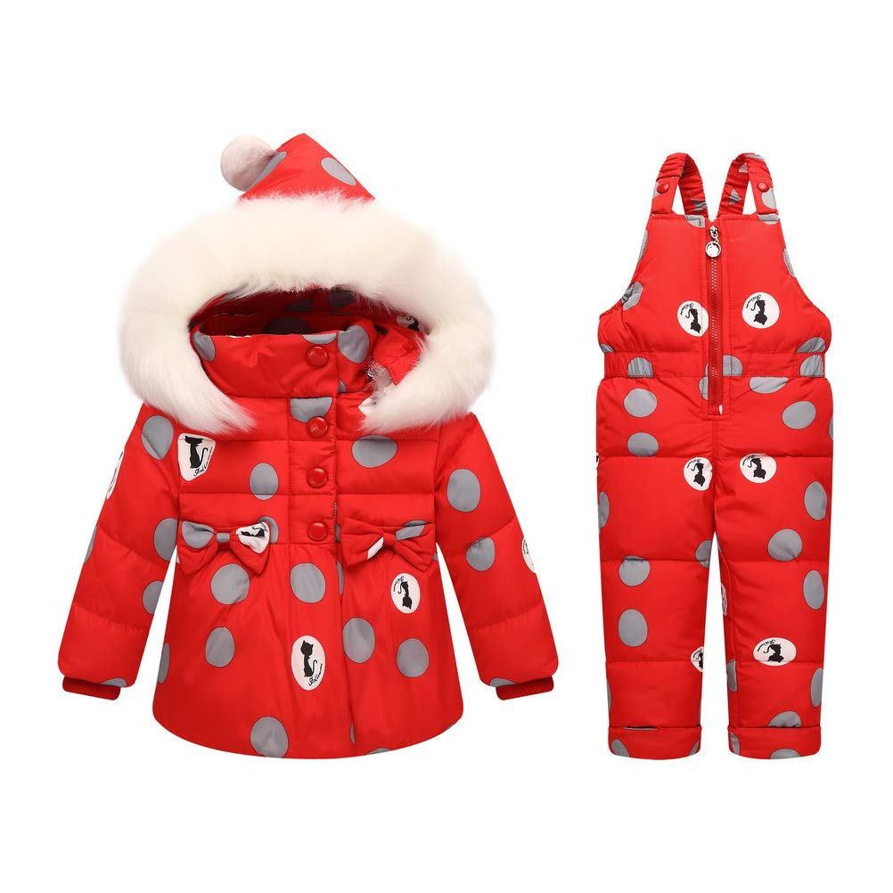 ARAUS Baby Girl Snowsuit Floral Down Puffer Coat Jacket + Jumpsuit Overalls Clothes Set Outfit 0-3 Years