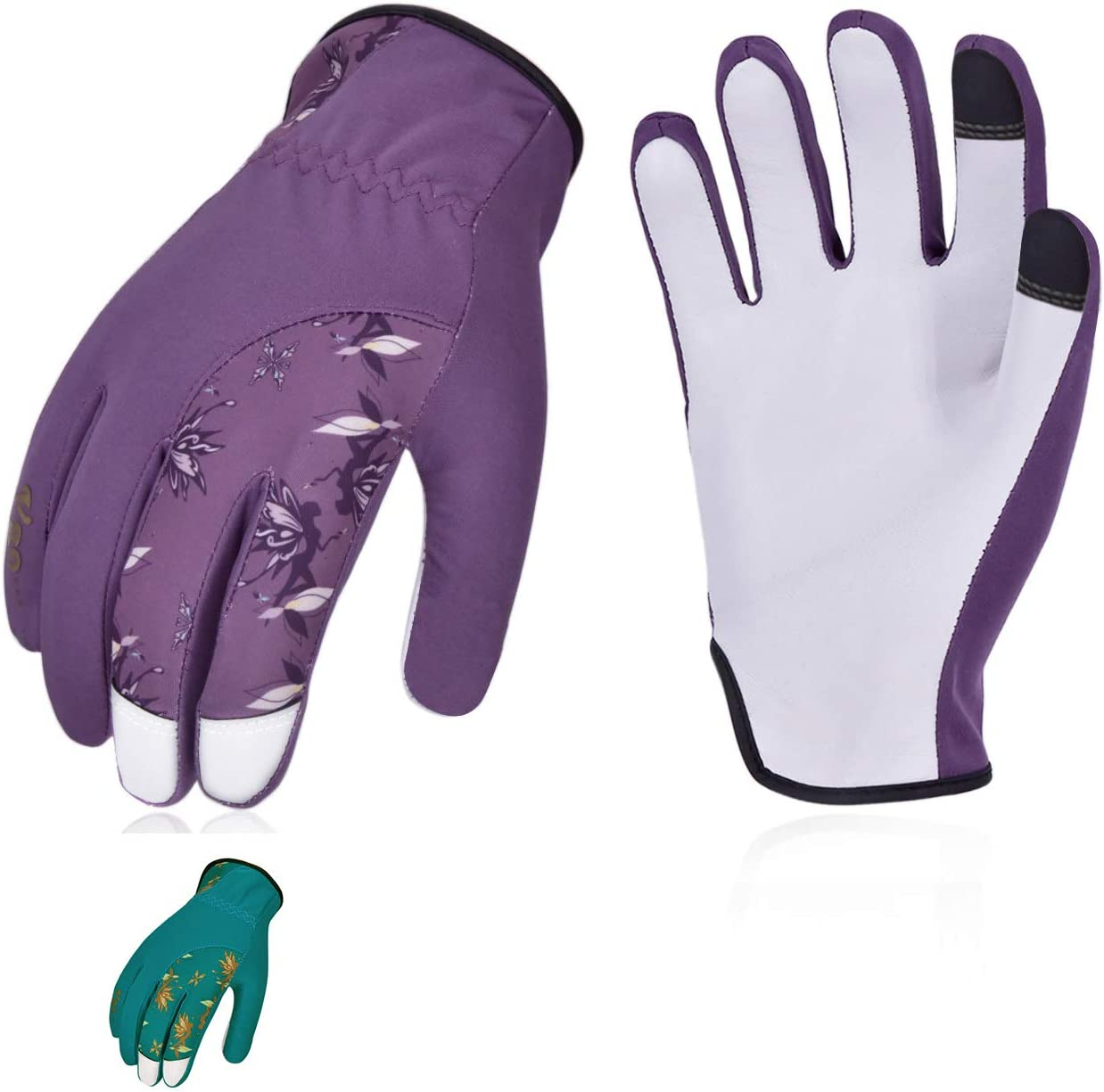 Vgo 2Pairs Ladies' Goatskin Leather Gardening Gloves(Size S,Blue&Purple,GA7454)