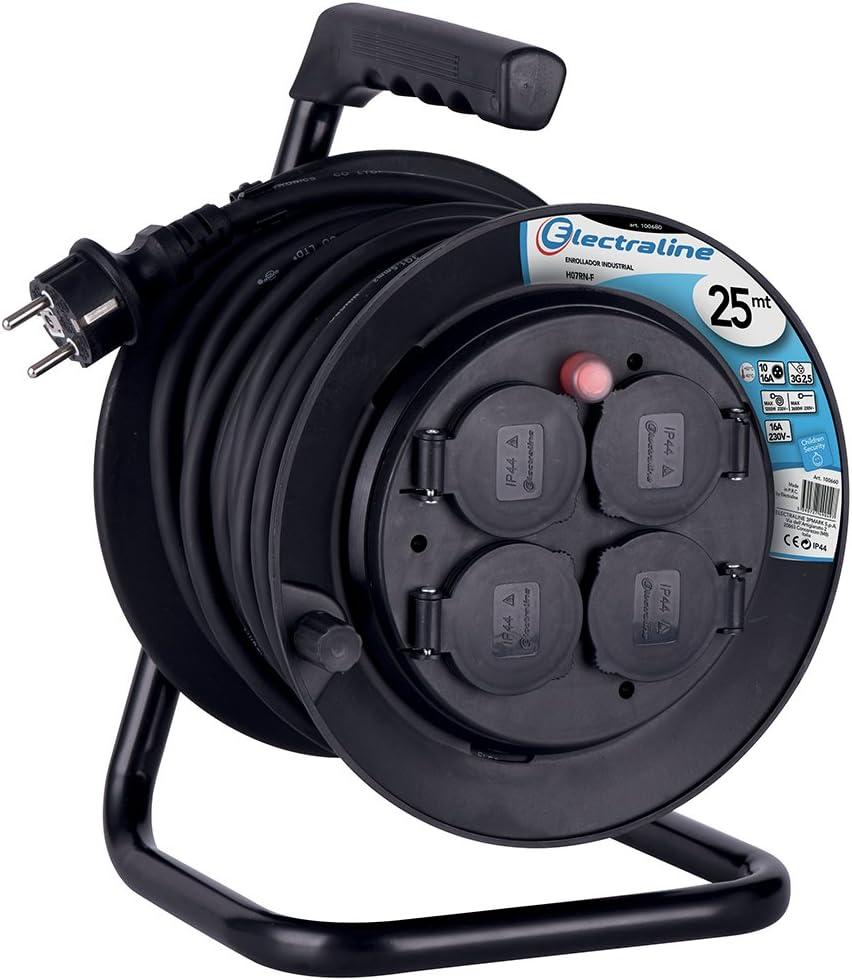 Schwarz Electraline 100690 Kabeltrommel Industriel Kabel HO7 RN-F 3G2.5 mit 4 Schukosteckdosen mit Abdeckung IP44 L/änge 40 m