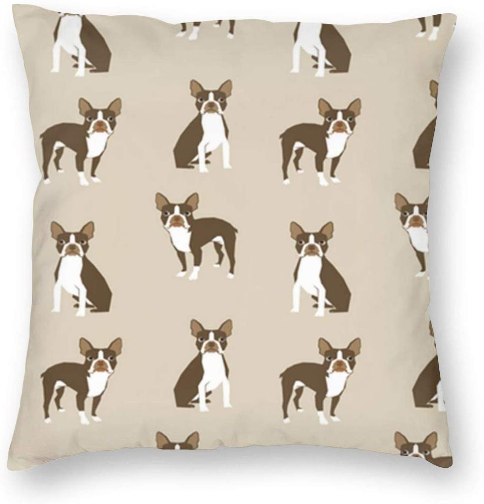 antkondnm Brown Boston Terrier Dog Home Decor Throw Pillow Cover, Lightweight Soft Plush Square Decorative Pillow Case 18x18 Inch Cushion Cover, Sham Stuffer, Machine Washable