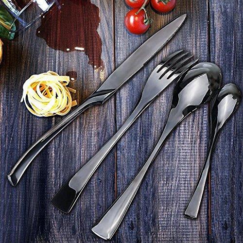 4X 304 Stainless Steel Dinnerware Black Cutlery Set Cutter Fork Spoon (Bass Saltwater Ceramic)
