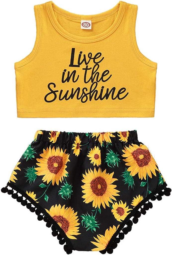 MOMKER Toddler Baby Girl Sleeveless Ruffle Sunflower Print Tops+Shorts Set Outfit White