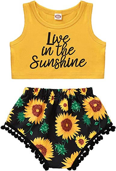 Infant Toddler Baby Girls Halter Sleeveless Sunflowers Top Vest Shorts 2Pcs Summer Outfits