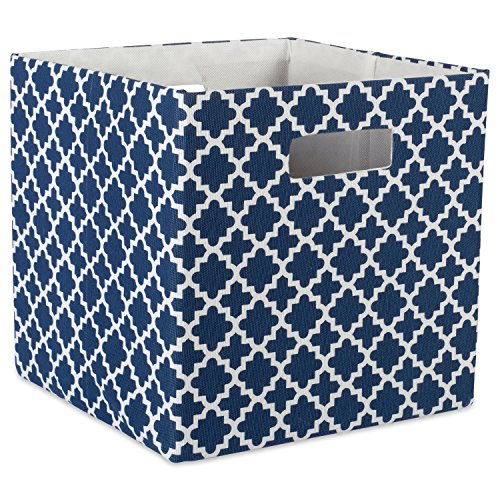 DII Hard Sided Collapsible Fabric Storage Container for Nursery, Offices, & Home Organization, (13x13x13″) – Lattice Nautical Blue