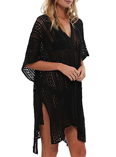9cac0b7061 Womens Summer Swimsuit Beach Cover Up Bathing Suits Cover Ups Swimwear  Coverups V-Neck Hollow