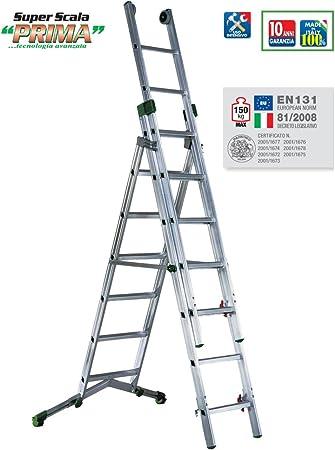 Escalera transformable aluminio 2 Plans; Con Un Pie telescópico ajustable: Amazon.es: Bricolaje y herramientas