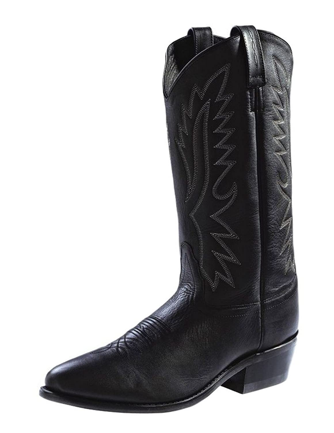 Old West Mens 13-Inch Genuine Leather Narrow Round Toe Black Western Cowboy Boot