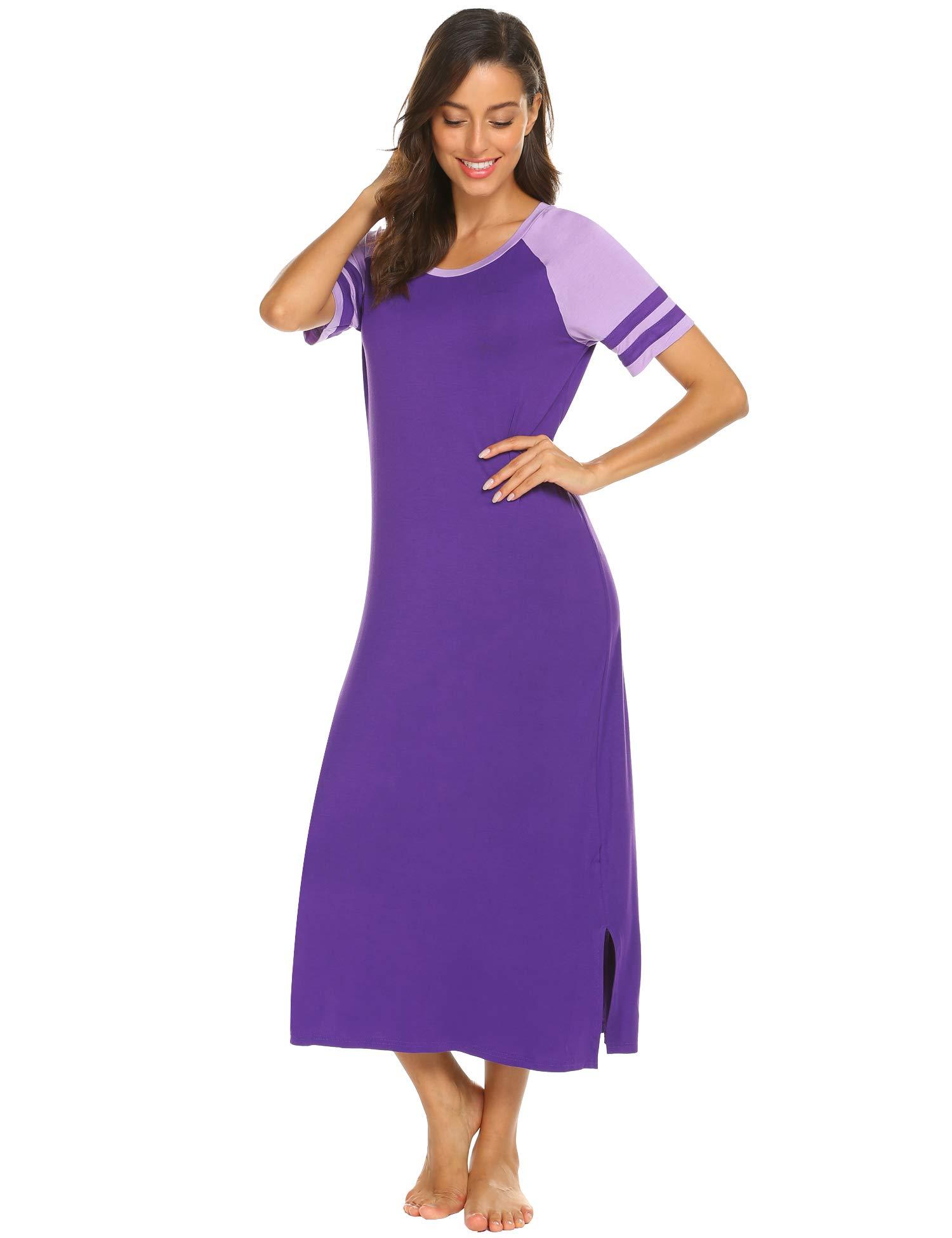 Loungewear Long Nightgown Maxi Nightshirt Full Length Sleep Shirt Lounge Dress Sleepwear purple XXL