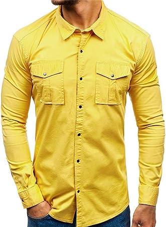 Camisa de Manga Larga de Bolsillo de un Solo Color para Hombre, para el Verano Amarillo S: Amazon.es: Ropa y accesorios