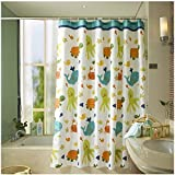 HOMEIDEAS Funny Kids Shower Curtain with Printed Animals Tortoise/Fish Pattern Bathroom Mildew Resistant Polyester Fabric Waterproof/Water-Repellent & Antibacterial, 72x72 inch