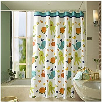 HOMEIDEAS Funny Kids Shower Curtain With Printed Animals Tortoise Fish Pattern Bathroom Mildew Resistant Polyester