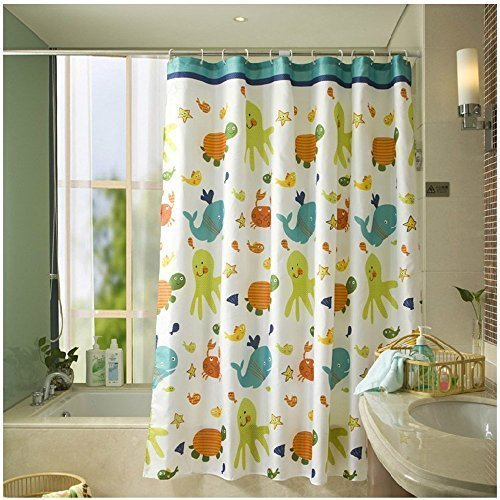 HOMEIDEAS Funny Kids Shower Curtain With Printed Animals Tortoise Fish Pattern Bathroom Mildew Resistant Polyester Fabric Waterproof Water Repellent