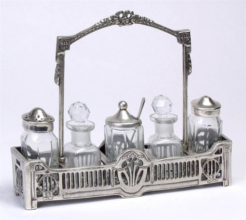 Condiment Set w Tray in Antique Silver Finish