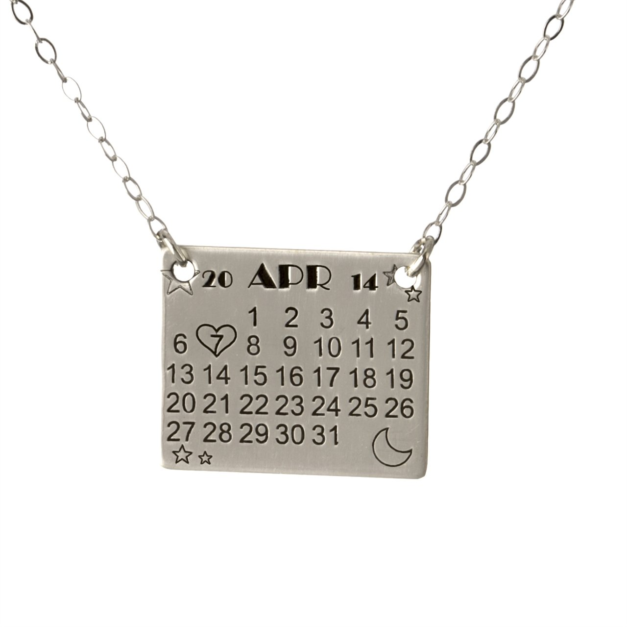 Special Date - Personalized Sterling Silver Calendar Charm Necklace Customize with the Special Date of your life. Includes Sterling Silver Cable Chain. Unique Gifts for Her, Wife, Girlfriend