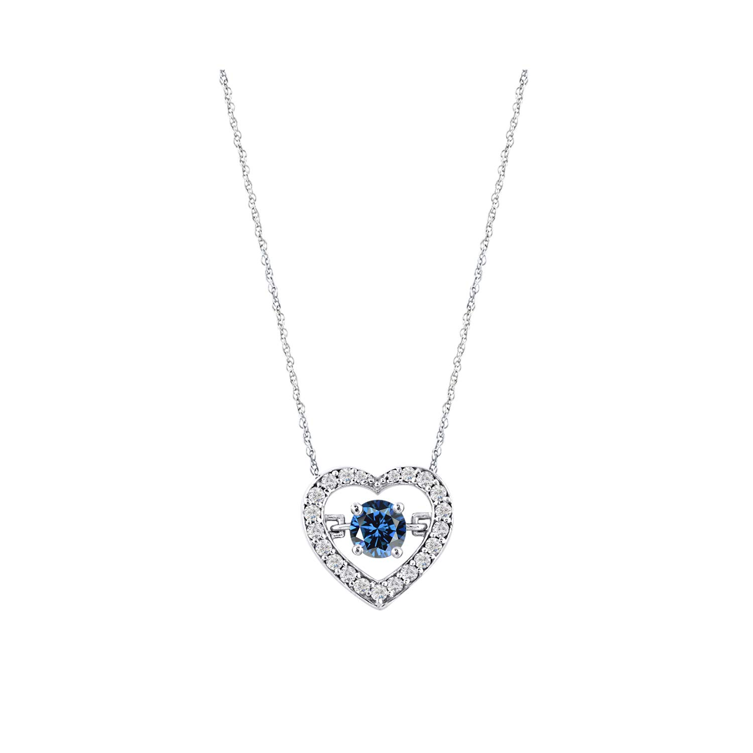 Craft On Jewelry 14k Yellow Gold Plated Dancing Simulated Blue Sapphire Solitaire Heart Pendant Necklace for Her