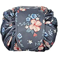 WJood Portable Fashion Drawstring Cosmetic Bag Large Capacity Waterproof Travel Makeup Pouch Magic Toiletry Bag for Womens Girls,Flower