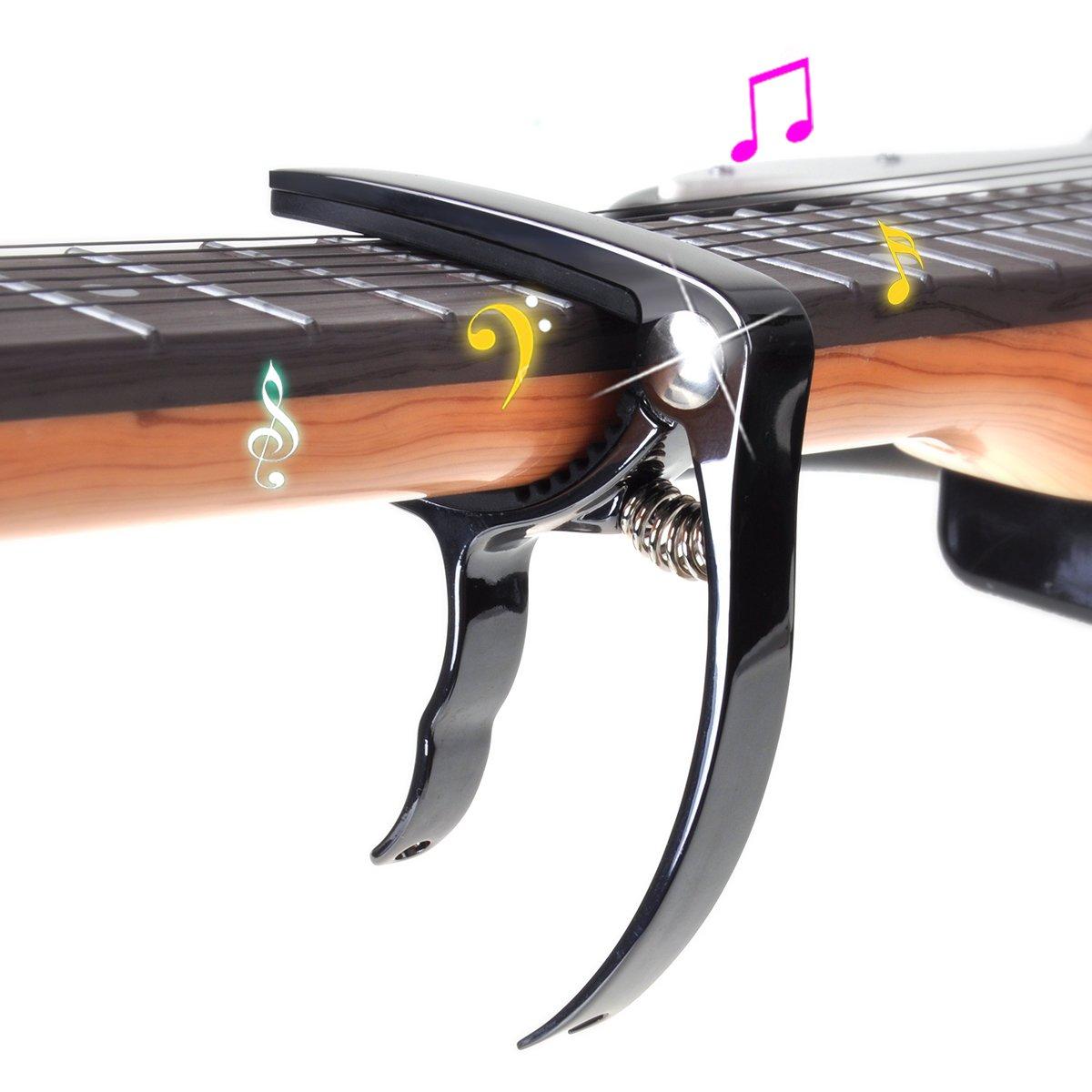 Cejilla Guitarra Acustica de Aluminio Y 6 Puas DEWEL Cejilla ukelele con una Bolsa de Terciopelo Perfecto para Guitarra Electrónica/Clásica