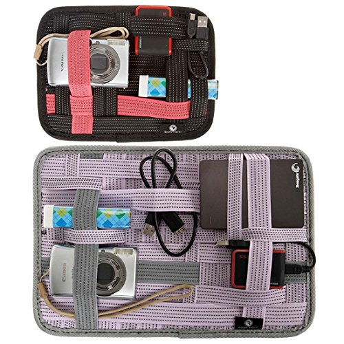 RoryTory 2 pc Black and Purple Mixed Size Elastic Band Slim Grid Organizer by RoryTory