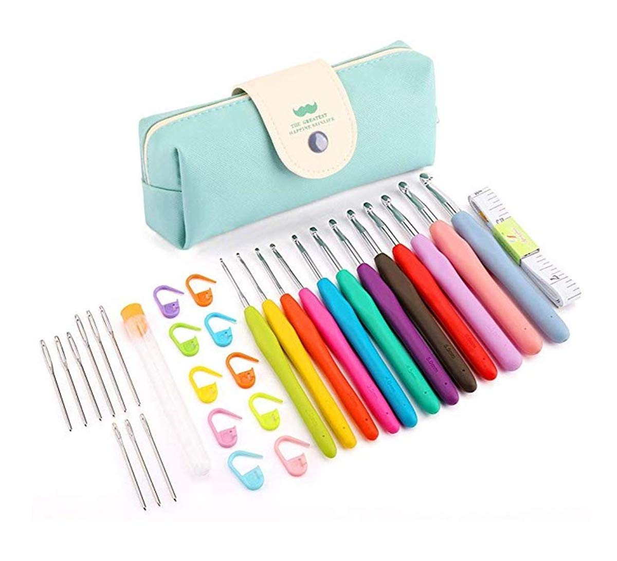 Ergonomic Crochet Hooks Kit,Euow Crochet Handles Set with Case,Large-Eye Blunt Needles,Yarn Needles, Knitting Clips- Best Gift for Women,Mom,Girl,Adults (Crochet Hooks Kit) EUOW0103