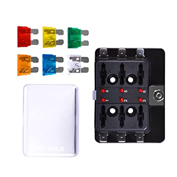 led marine fuse box on wiring diagram amazon com 6 way blade fuse block autoec marine fuse box holder outdoor fuse box