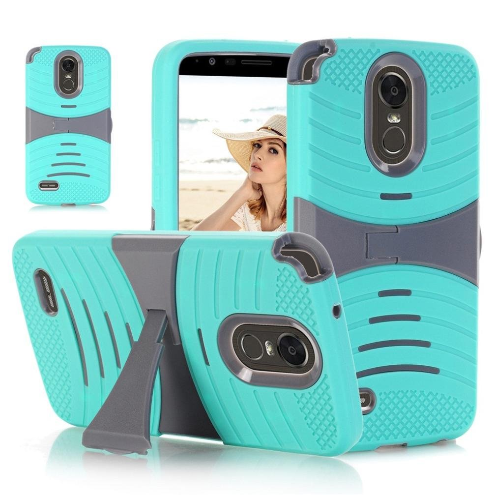 For LG Stylo 3 plus Case Sinfu Protective Hard Gel Rubber Compact Bracket Case Cover (C)