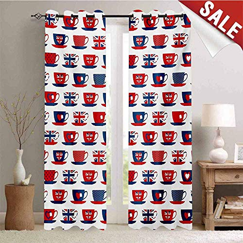 Tea Party Waterproof Window Curtain Great Britain Themed Teacup Forms Patterned Union Jack Hearts Flags Room Darkening Wide Curtains W72 x L108 Inch Vermilion Night Blue