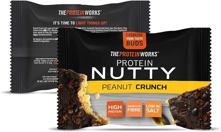 Protein Nutties   Alto en Proteínas   Snack Energético   THE PROTEIN WORKS   Cacahuete Crunch   Caja de 12: Amazon.es: Salud y cuidado personal