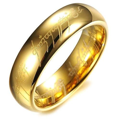 jeracol bañados en oro 18 K Elvish Script carburo de tungsteno unisex con láser anillos de