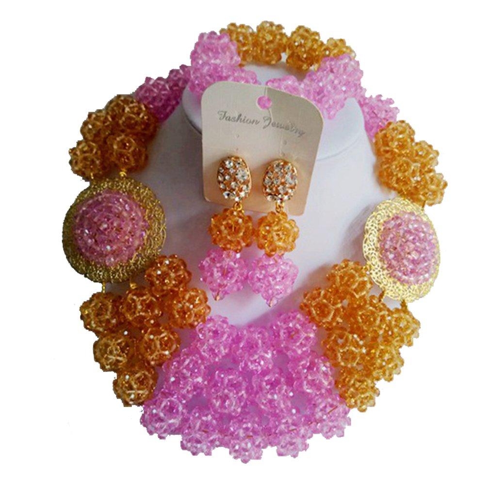laanc 3 Layer 18inch Womens African Bead Necklace Bracelet Earrings Nigeria Wedding Jewelry Set