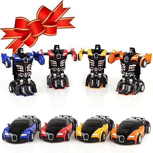 Toy Cars, XHAIZ Transformers Vehicle Toy for Boys One Step, 4-pack (001 4-Pack)