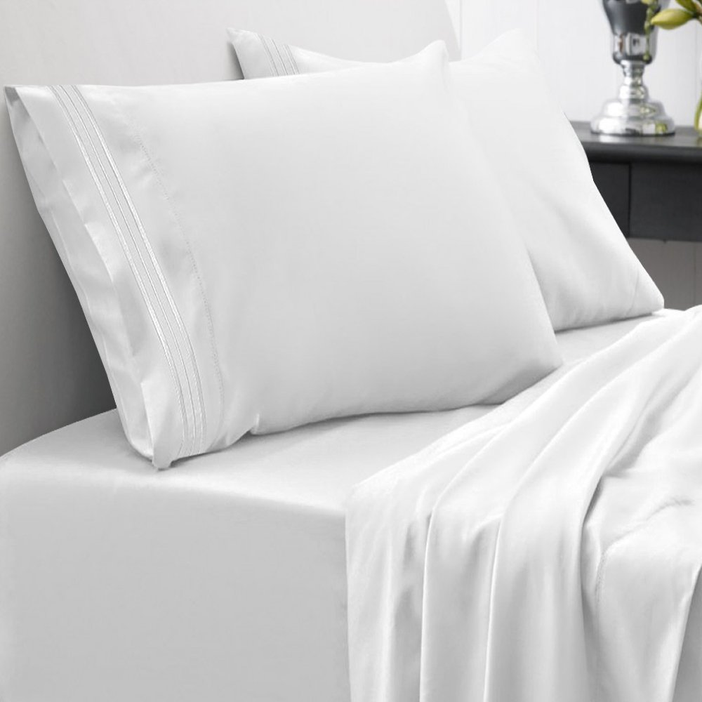 Sweet Home Collection 1800 Thread Count Egyptian Quality Brushed Microfiber 4 Piece Deep Pocket Bed Sheet Set, Queen, White by Sweet Home Collection (Image #2)